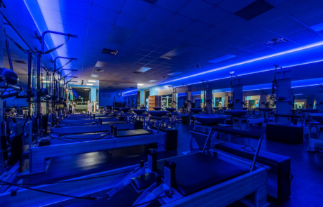 Interior of Pilates Studio Fleming Island with glow in the dark lights by HURD Construction