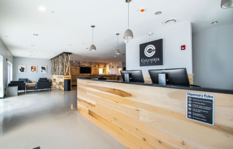 Longwood building interior with front desk by HURD Construction